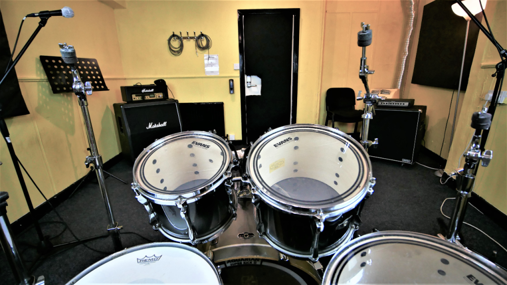 Reverse angle of The Gold Room at One Louder Studios Newport