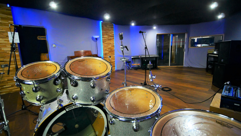 View from the drums in the Live Room of One Louder Studios' recording studio..