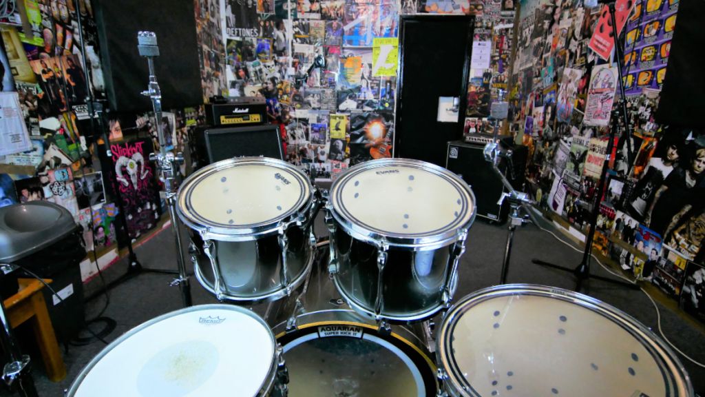 From the drums in The Poster Room at One Louder Studios