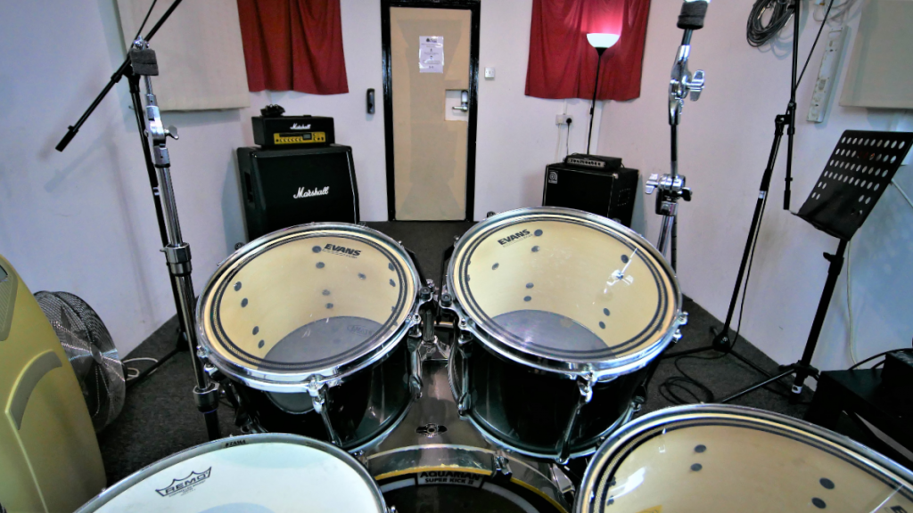 From the drum kit in The White Room at One Louder Studios Newport